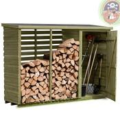 Brennholzregal mit Geräteschrank außen von Gartenpirat®