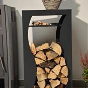 Kaminholzregal Innen aus Metall Welle mit Anfeuerholzfach - Anthrazitgrau